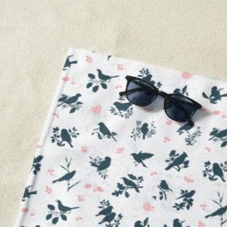 Vintage Floral Bird Beach Towel