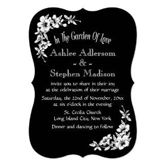 Vintage Floral Black And White Flower Wedding 13 Cm X 18 Cm Invitation Card