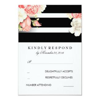 Vintage Floral Black and White Wedding RSVP 9 Cm X 13 Cm Invitation Card