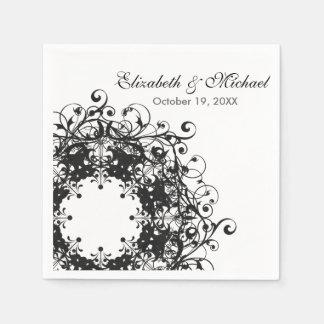 Vintage Floral Black & White Wedding Birthday Disposable Napkin