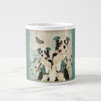 Vintage Floral Blue Dogs Mug Jumbo Mug