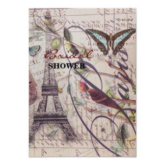 "Vintage floral butterfly Paris eiffel tower 4.5"" X 6.25"" Invitation Card"