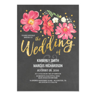 Vintage Floral Chalkboard and Gold Wedding 13 Cm X 18 Cm Invitation Card