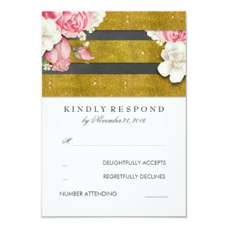 Vintage Floral Chalkboard and Gold Wedding RSVP 9 Cm X 13 Cm Invitation Card
