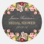 Vintage Floral Chalkboard Bridal Shower Round Sticker