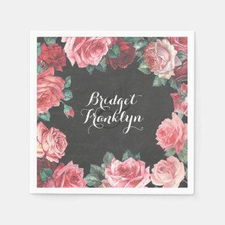vintage floral chalkboard wedding paper napkins