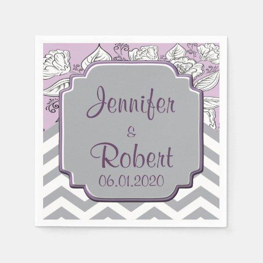 Vintage Floral Chevron Posh Wedding Napkin Paper Napkin