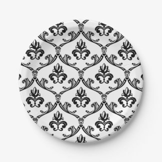 Vintage Floral Damask Black & White Wedding Party 7 Inch Paper Plate