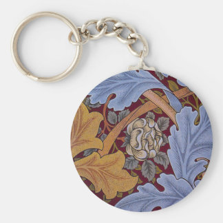 Vintage Floral Design Acanthus Leaves Basic Round Button Key Ring