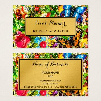 Vintage Floral Elegant Faux Gold Event Planner Business Card