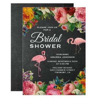 Vintage Floral Flamingo Bridal Shower Invitation