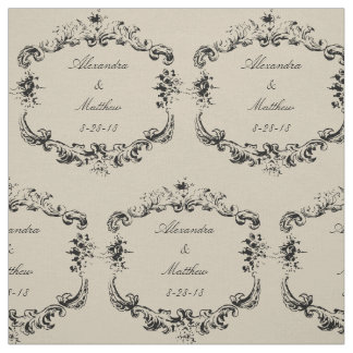 Vintage Floral Frame Personalized Fabric