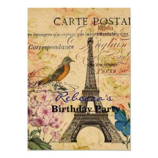 Vintage floral French Bird Paris Eiffel Tower Card