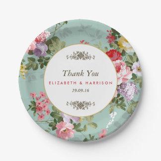 Vintage Floral Garden Botanical Wedding 7 Inch Paper Plate
