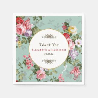 Vintage Floral Garden Botanical Wedding Paper Serviettes