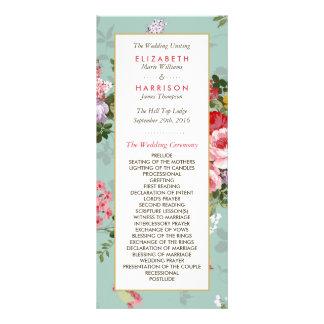 Vintage Floral Garden Botanical Wedding Program Rack Card Design