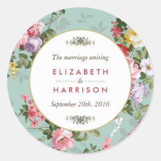 Vintage Floral Garden Botanical Wedding Round Sticker