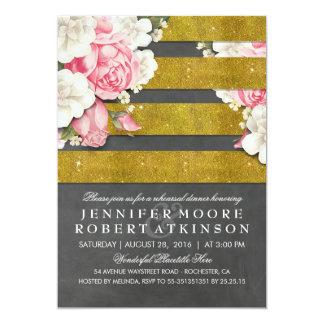 Vintage Floral Gold Chalkboard Rehearsal Dinner Card
