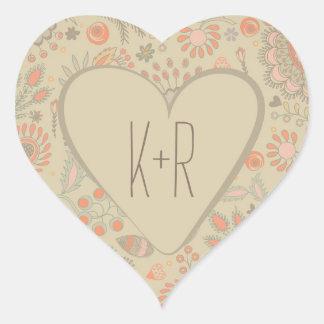 Vintage Floral Heart Vintage Wedding Heart Sticker