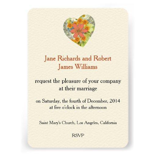 Vintage Floral Heart Wedding Invitation