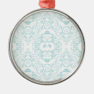 Vintage Floral Lace in Teal Pattern Christmas Ornament