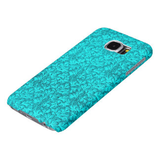 Vintage Floral Lace Leaf Teal Peacock Samsung Galaxy S6 Cases