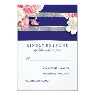 Vintage Floral Navy and Silver Wedding RSVP 9 Cm X 13 Cm Invitation Card