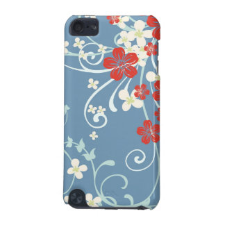 Vintage Floral Pattern - Beautiful Blue and Red iPod Touch (5th Generation) Case
