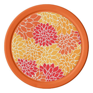 Vintage Floral Pattern Orange Red Dahlias Flowers Poker Chips