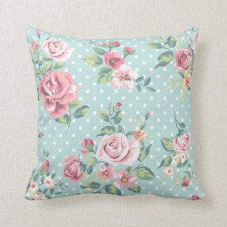 Vintage Floral Pink Rose Flowers Blue Polka Dot Throw Pillow