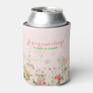 Vintage Floral Pink Wedding Bachelorette Party Can Cooler