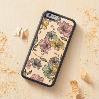 Vintage Floral Print Pattern Carved Maple iPhone 6 Bumper Case