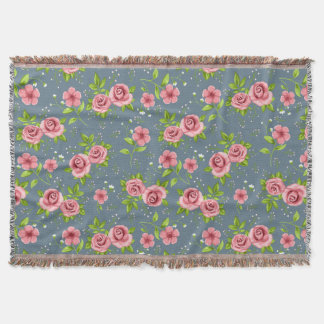 Vintage Floral Roses Pink Green Pattern Throw