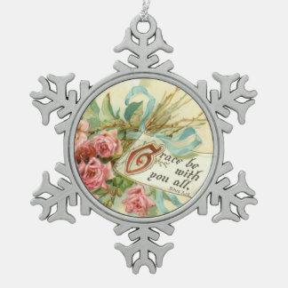 Vintage Floral Roses Scripture Verse Snowflake Pewter Christmas Ornament