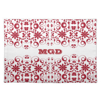 Vintage floral shabby and chic pattern monogram place mats