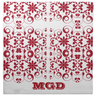 Vintage floral shabby and chic pattern monogram printed napkins