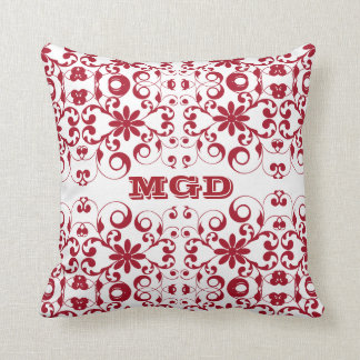 Vintage floral shabby and chic pattern monogram throw pillow