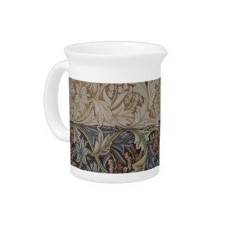 Vintage Floral Tapestry Antique Fabric Pattern Drink Pitcher