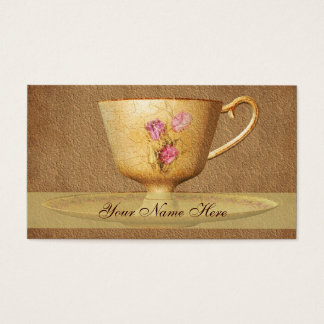 Vintage Floral Tea Cup Art Business Card