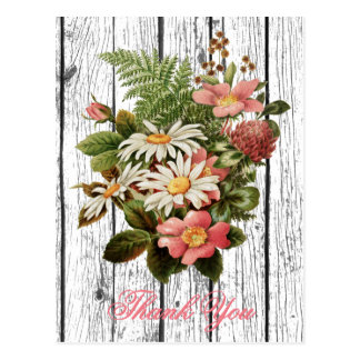 Vintage Floral Thank You Personalize Postcard