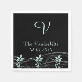 Vintage Floral Trim Monogram Wedding Standard Cocktail Napkin