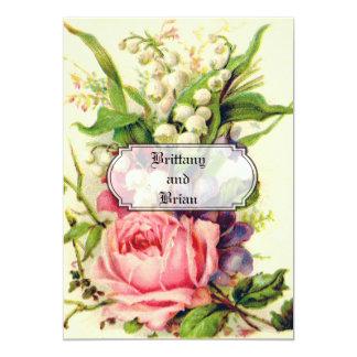 VINTAGE FLORAL WEDDING 13 CM X 18 CM INVITATION CARD