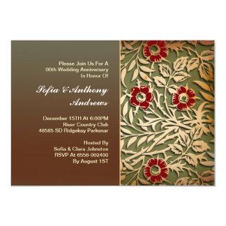 vintage floral wedding anniversary 13 cm x 18 cm invitation card