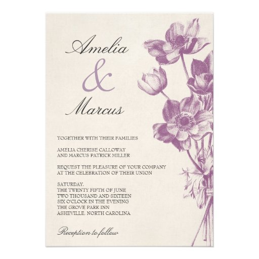 Vintage Floral Wedding Invitation / Cream Personalized Announcement