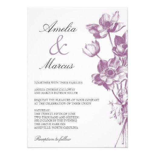 Vintage Floral Wedding Invitation / White Invitations
