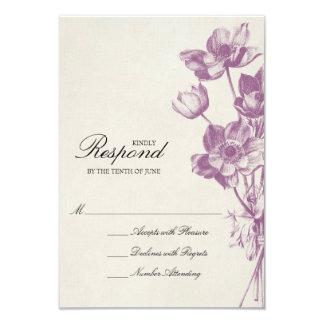 Vintage Floral Wedding RSVP / Cream 9 Cm X 13 Cm Invitation Card