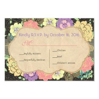 Vintage Floral Wedding RSVP 3.5x5 Paper Invitation Card