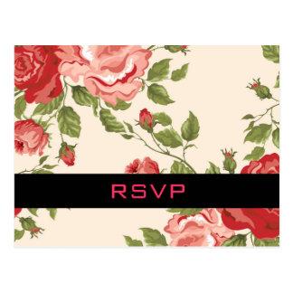 Vintage Floral Wedding RSVP Postcard