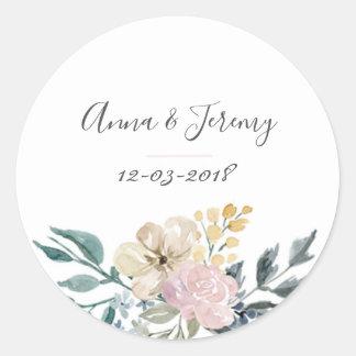 Vintage floral wedding sticker
