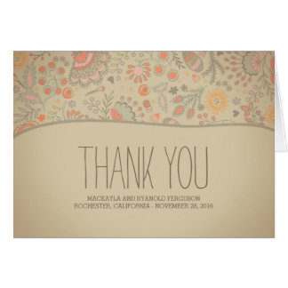 Vintage Floral Wedding Thank You Note Card